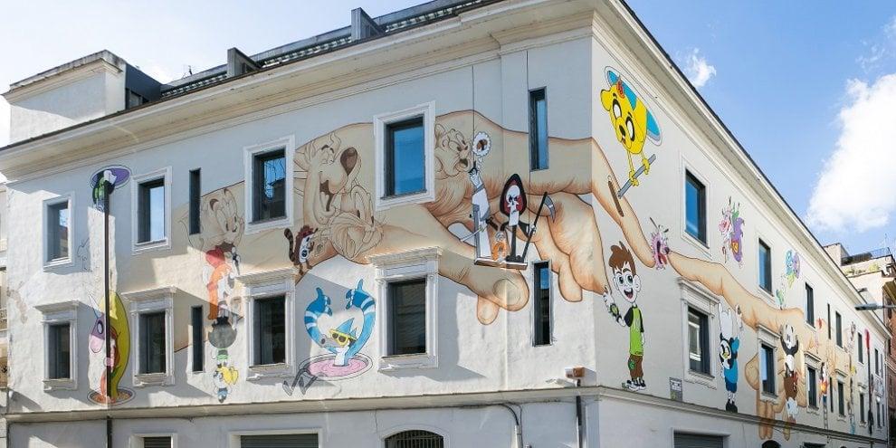 murale cartoon network ostiense