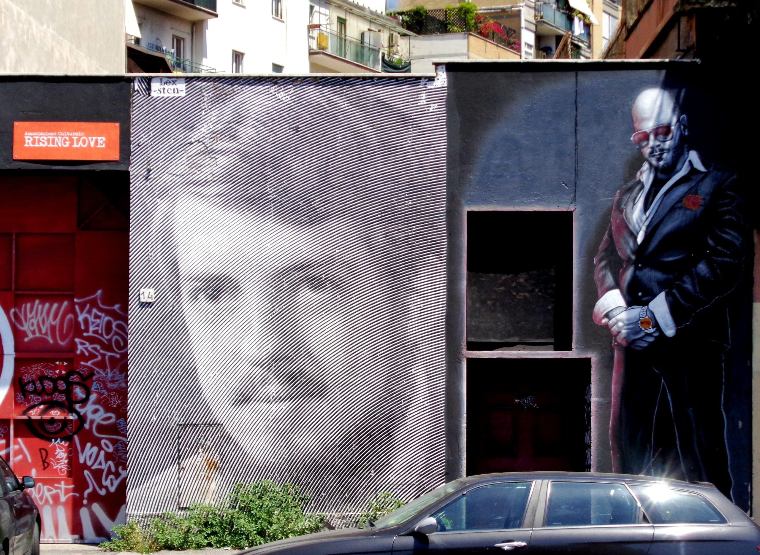 street art at rising love by sten&lex mto ostiense roma