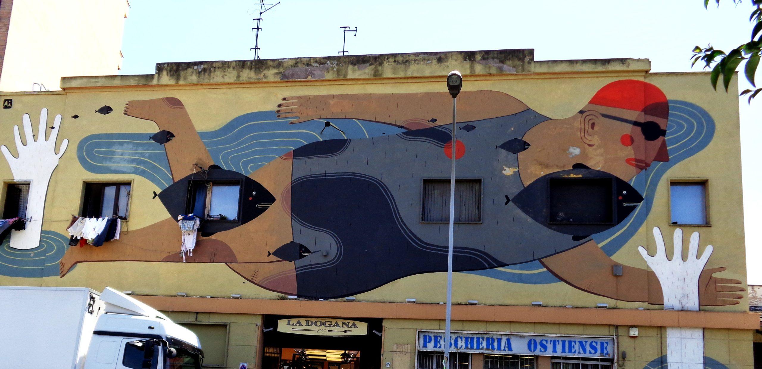 street art by Agostino Iacurci on via del porto fluviale, ostiense, rome