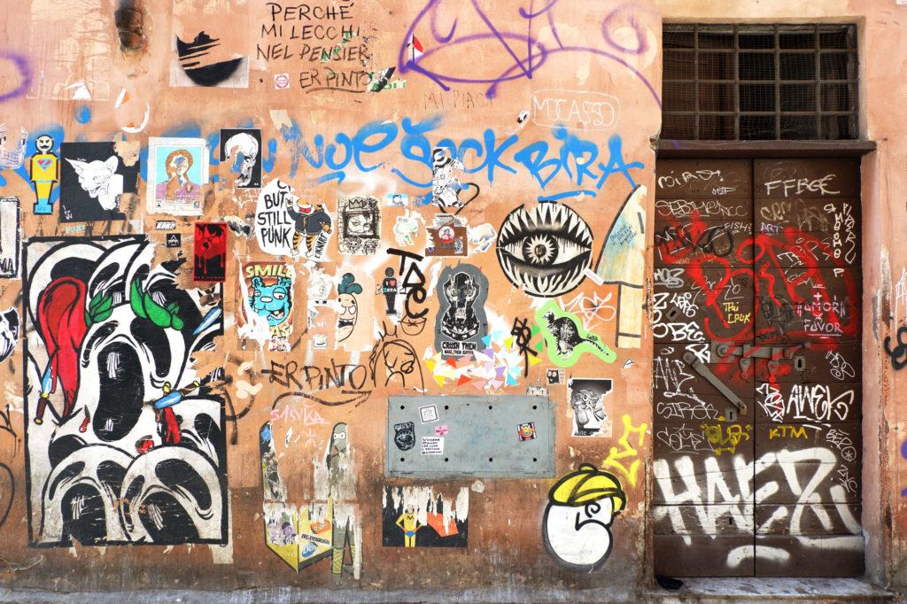 poster art in via della paglia a trastevere