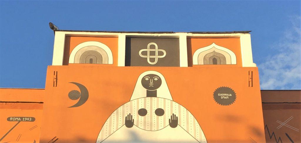 san lorenzo, dettaglio del murale di guerrilla spam